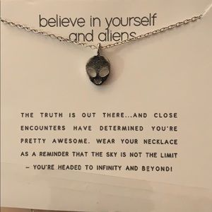 """Believe in yourself and aliens"" silver necklace"
